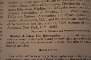Wernher von Braun's encyclopedia entry in a 1977 World Book Encyclopedia.