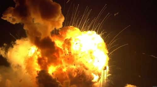 Explosion of Orbital Science's rocket on launch pad