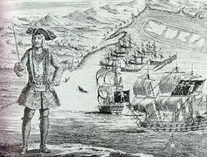 Welsh pirate Bartholomew Roberts aka Black Bart (public domain)