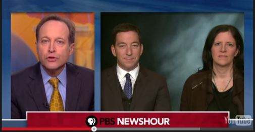 The highest of the high ground: Glenn Greenwald (center) appears on PBS newshour.