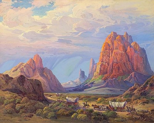 Out into the unknown  Pictured: Monument Valley (painting by Fred Grayson Sayre)