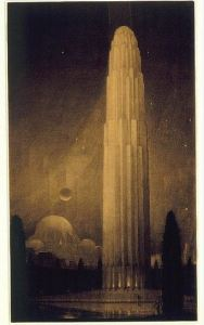 A tower drawing by Hugh Ferriss (the Avery Collection on Flickr)